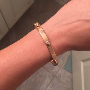 Love lock style rose gold bangle